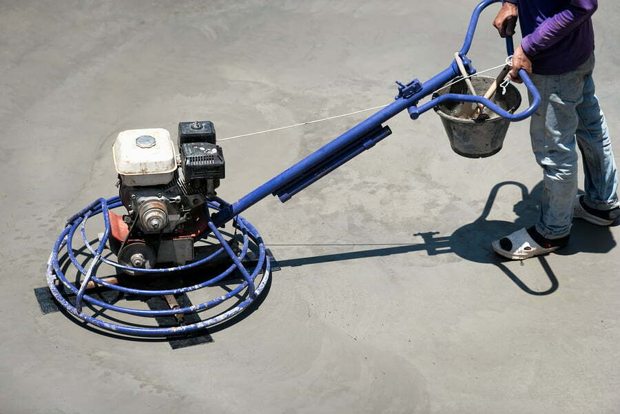 steel trowel machine for smoothing surface to finish of concrete slab